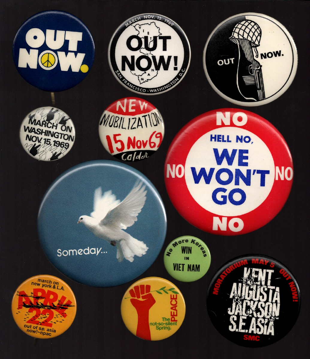 Top: A group of Americana pinbacks from Aisthorpe's collection. Above: Several of Aisthorpe's antiwar buttons, circa 1967-1971. (click to enlarge)