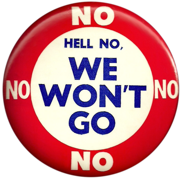 This button from the early 1970s features a popular antiwar chant.