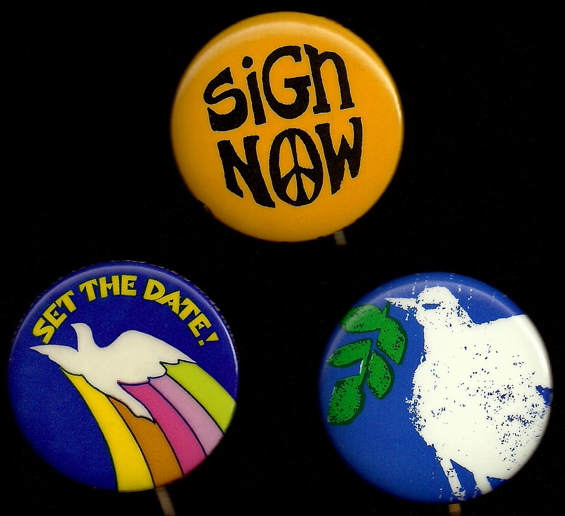 Three buttons for the Fifth Avenue Vietnam Peace Parade Committee from the early 1970s.