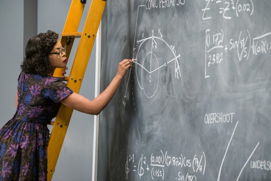 "In the 2016 movie ""Hidden Figures,"" Katherine Johnson (played by Taraji P. Henson) works out essential launch equations for NASA."