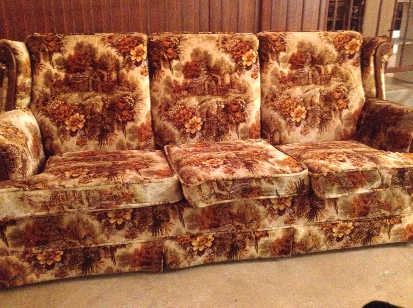 Over A Picture Patterned Sofa In An Autumnal Colored Velour With Scrolling Dark Wood Trim